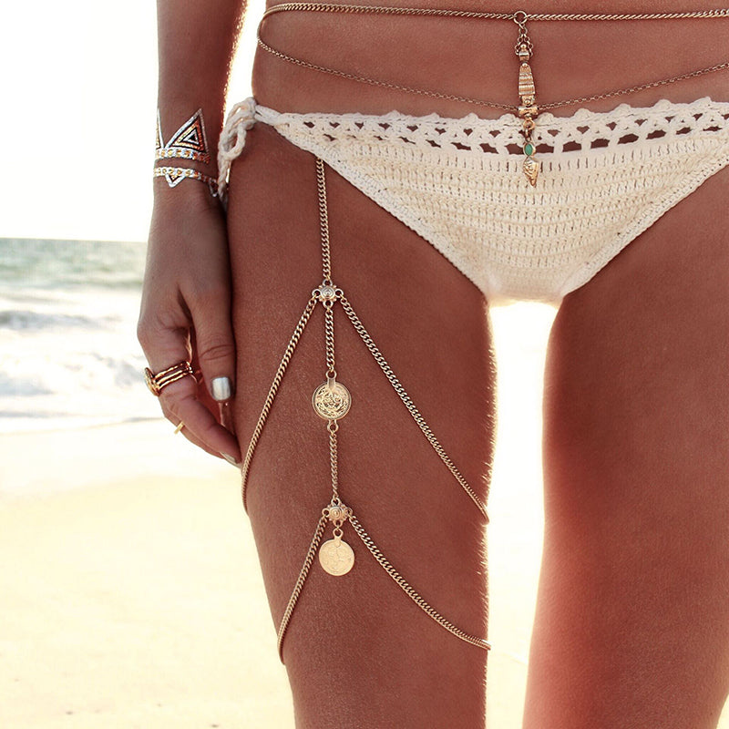 Leg chains boho body jewelry gold or silver