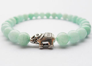 Blue Amazon Stone Bracelet & Silver Plated Elephant