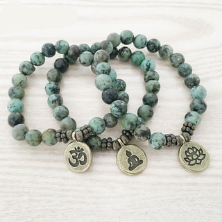 Natural African Turquoise Stone Bracelet with Lotus Pendant