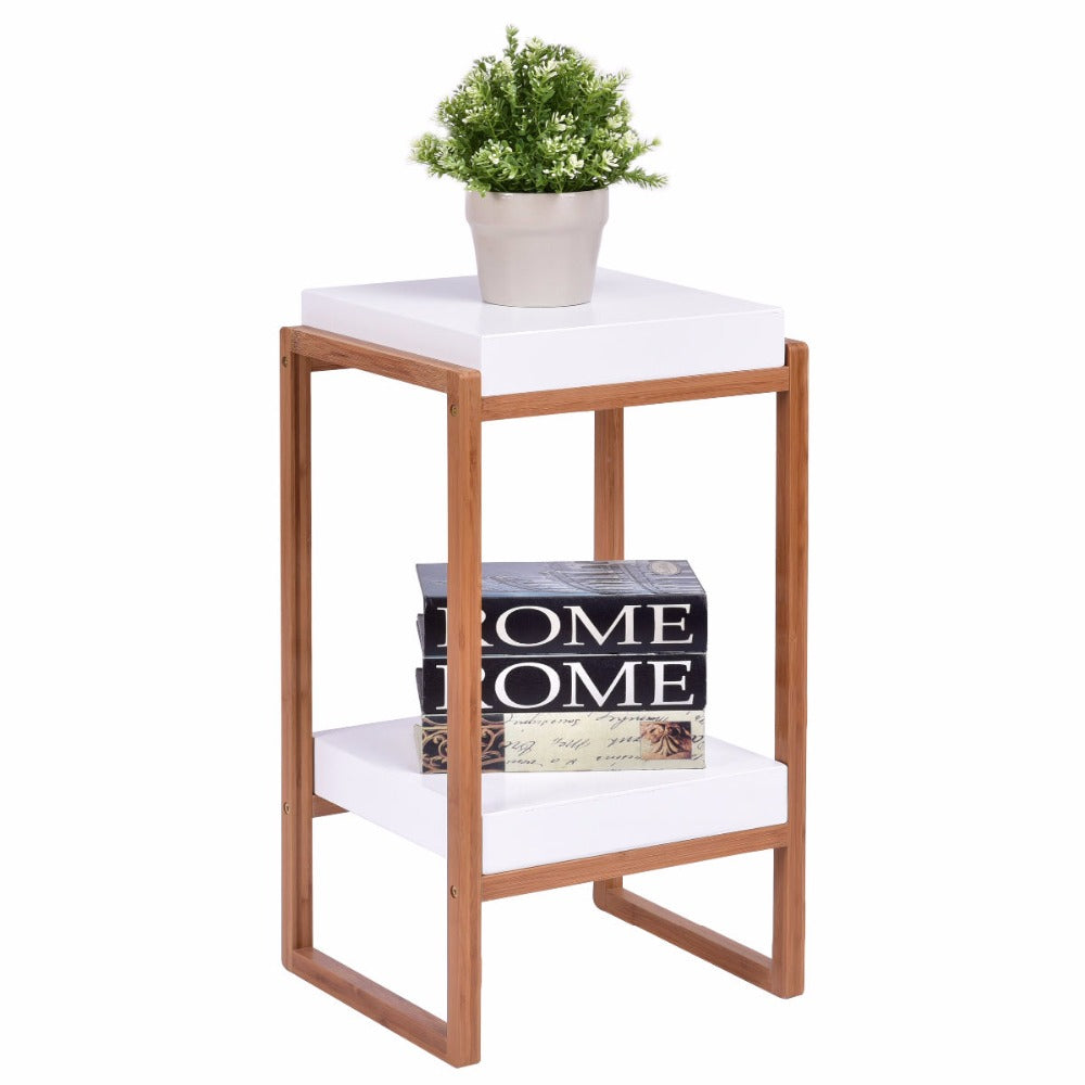 Bamboo Wood with White Shelf Accent Table