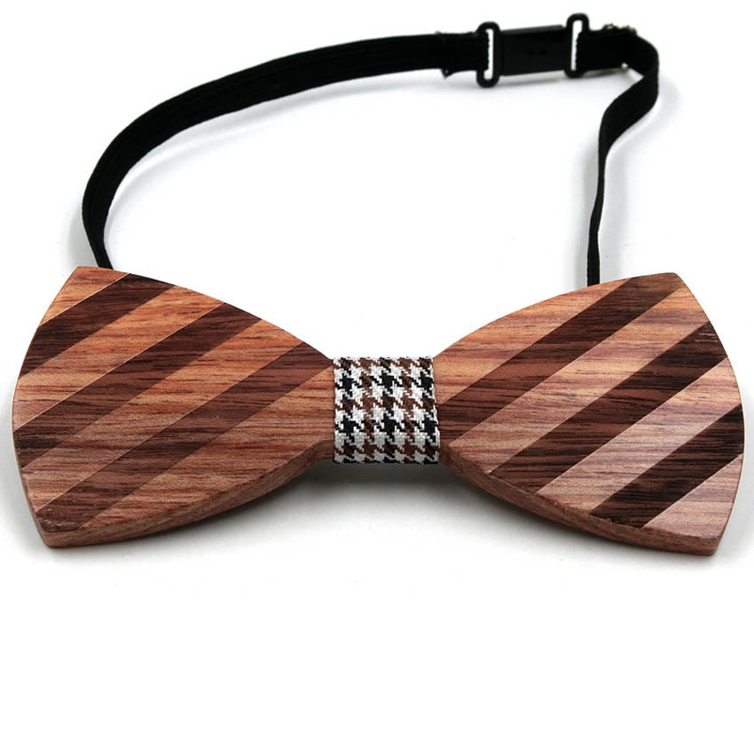 Striped Red Sandal Wood Bow Tie Classic Accessory Gift for him