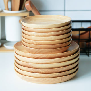 2pcs/Set Round Wooden Plate Set