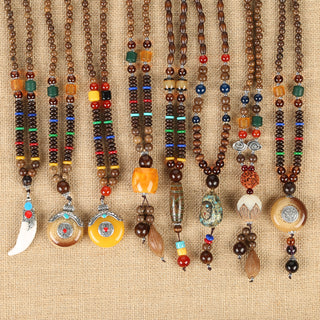 Wood Beads Mala Statement Necklaces