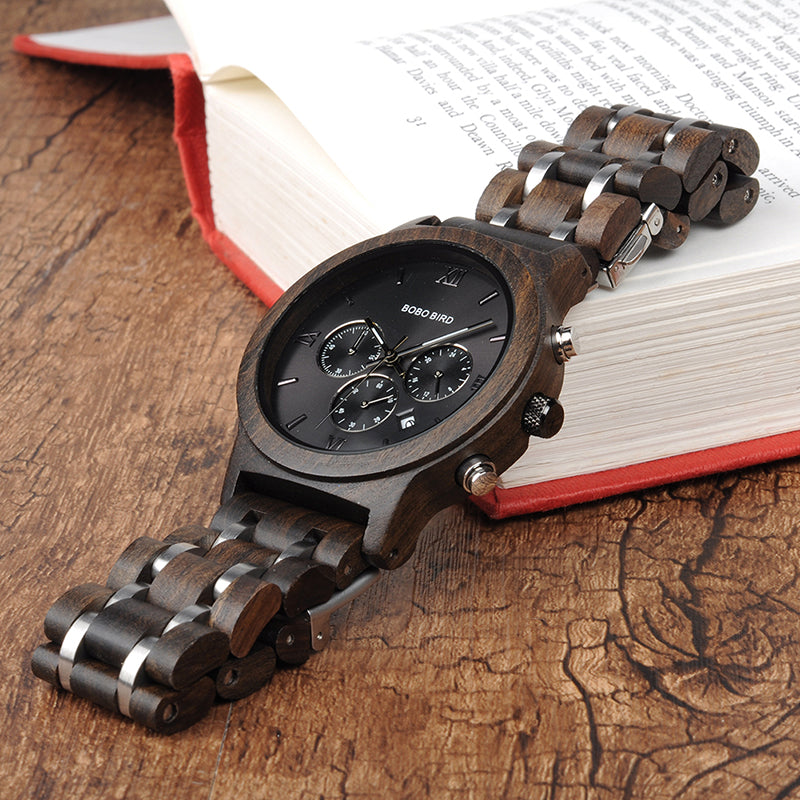 Men's Luxury Chronograph Dark Wood Grain Watch with Date Display