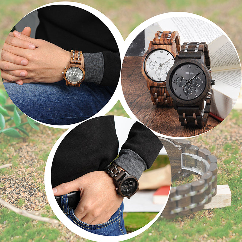 Men's Chronograph Dark Wood Grain Watch