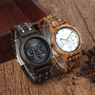 Men's Luxury Chronograph Wood Grain Watch with Date Display