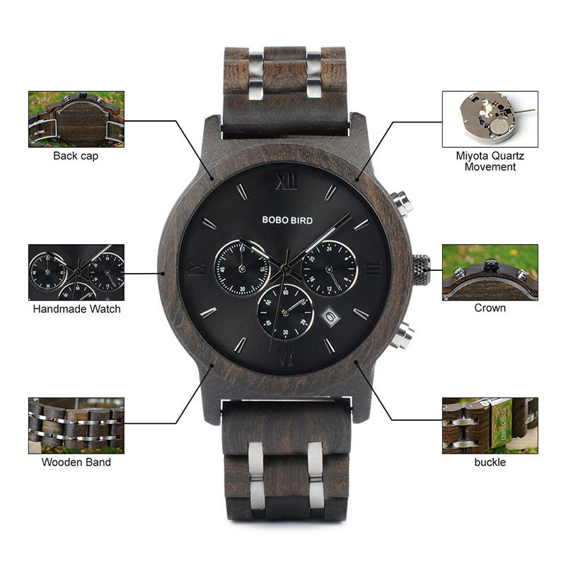 Men's Luxury Chronograph Wood Watches Clock with Date Display