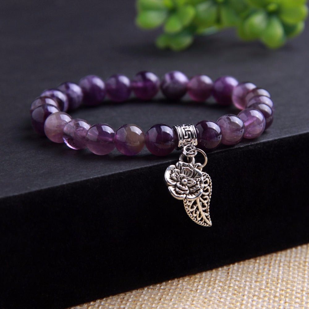 Natural Amethyst Quartz Stone with Charm