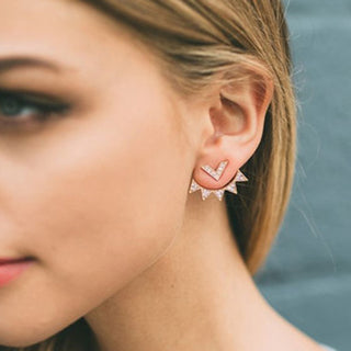 Elegantly Curved Ear Jacket Earrings