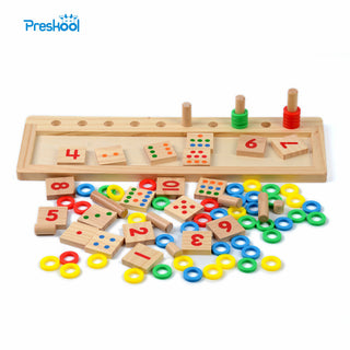 Baby Math Toy Wooden Board Dominos