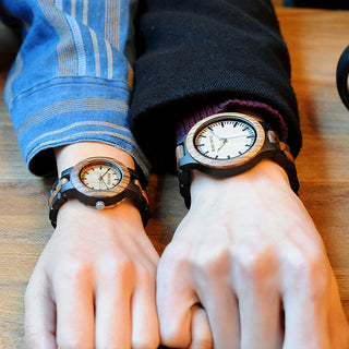 His and Hers Luminous Needles Handmade Wooden Watches