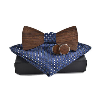 Blue Squared Cuff Links, Handkerchief, Wooden Bow Tie Set