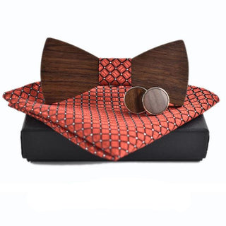 Gifts for Him - Wooden Bow Tie, Cuff Links and Kerchief set