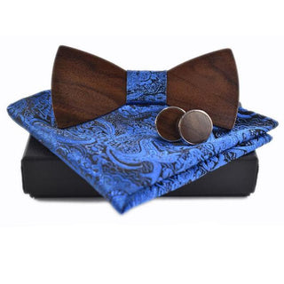 Black Walnut Wooden Bow Tie, Cuff Links & Kerchief Set