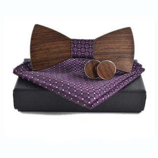 Purple Wooden Bow Tie, Cuff Links and Kerchief Set