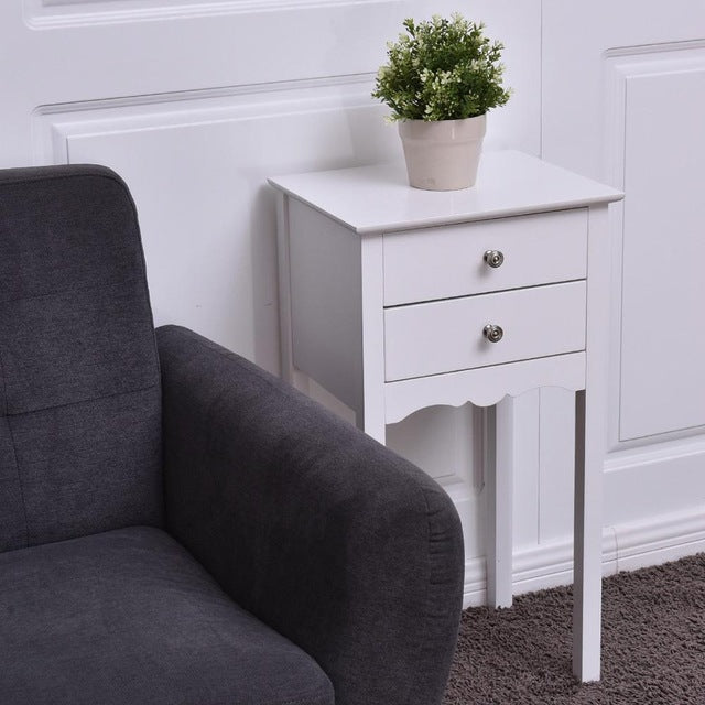 White Modern Accent Table/Nightstand with 2 Drawers