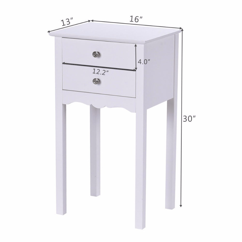 White Modern 2 Drawer Accent Table/Nightstand