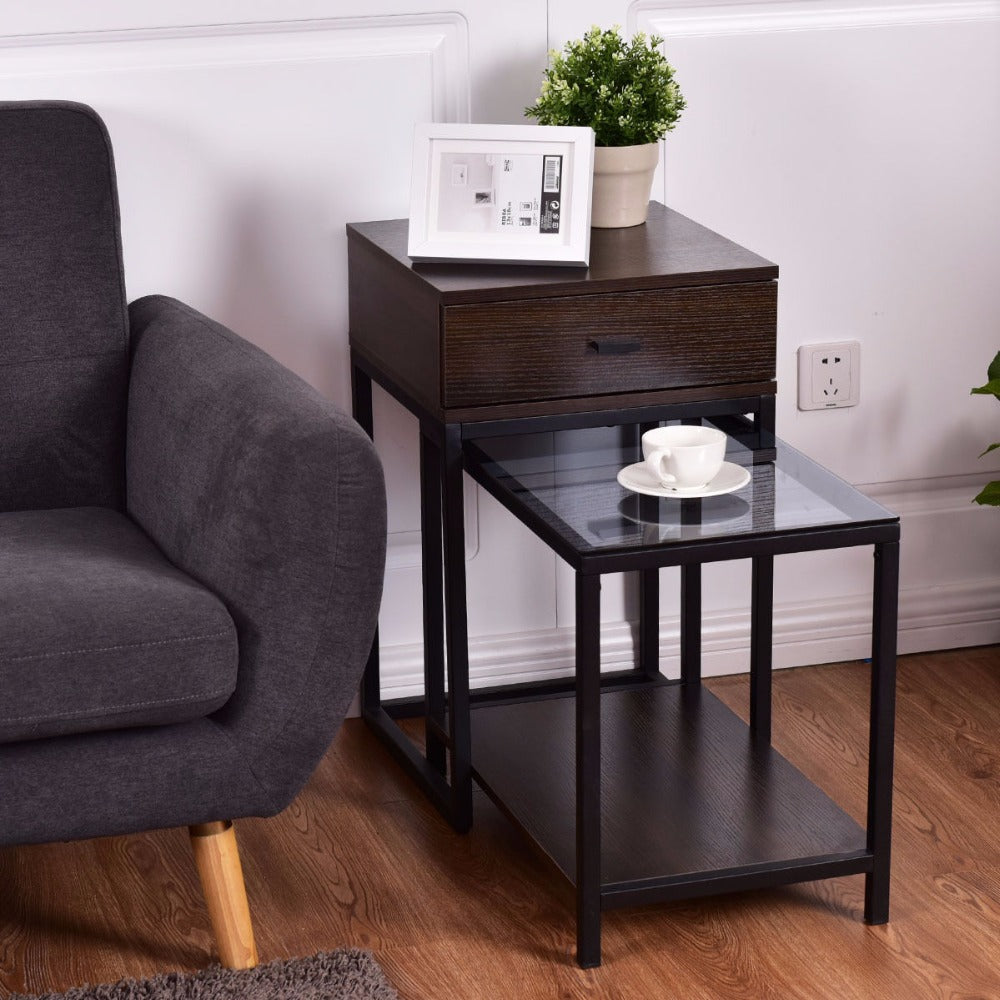 2PCS Set Nesting Modern Coffee Side Table Wood Portable End Table