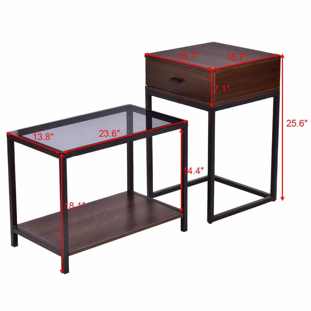 2PCS Nesting Coffee Side Table End Table
