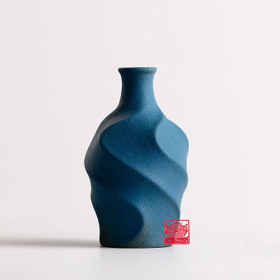 Blue Modern Terra-Cotta Ceramic Tabletop Flower Vase