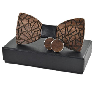Classic Black Tie Wooden Bow Tie and Cuff-links Set