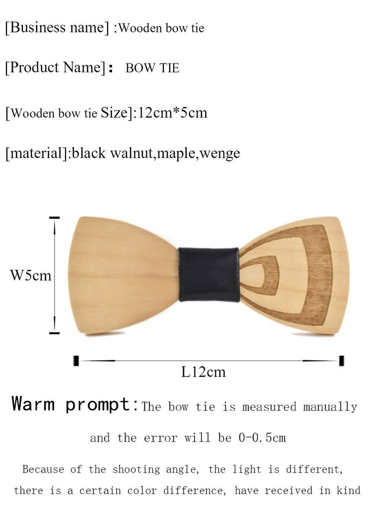 Carved Fashion Wooden Bow Tie - 15 Styles