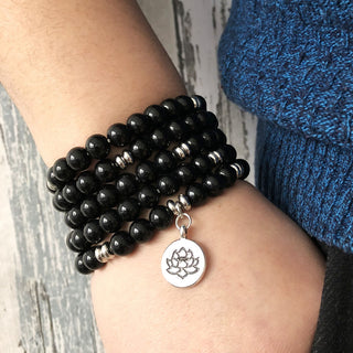 Buddha Wrapped Wrists Black Bracelet - Lotus Flower Yoga