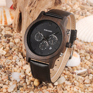 Men's Luxury Chronograph Wood Grain Watch with Leather Band