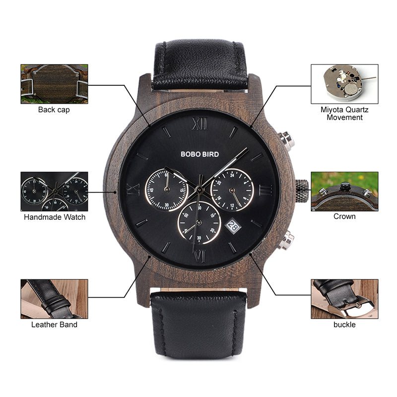 Men's Luxury Silver Chronograph Wood Grain Watch with Leather Band