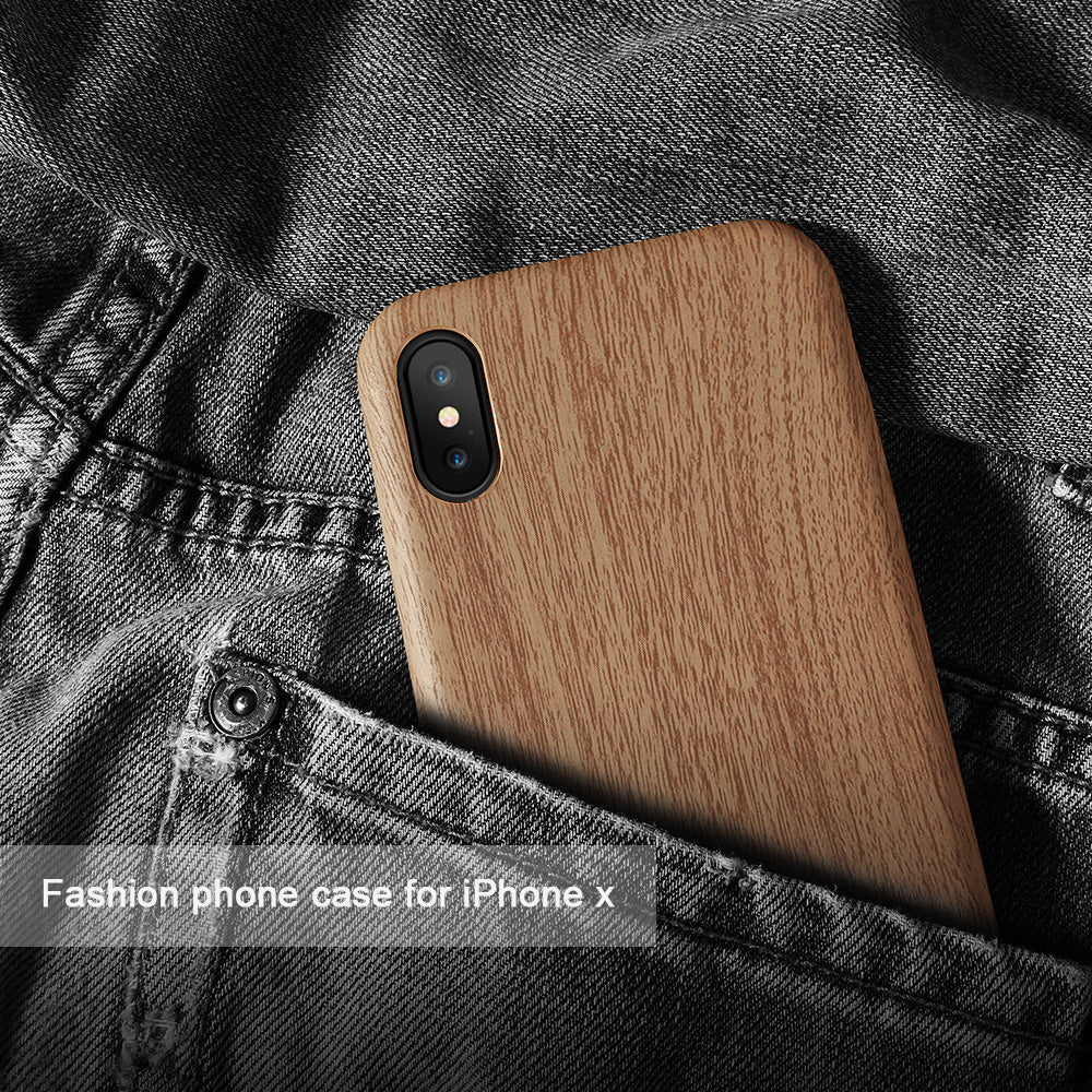 iPhone X Wood Leather Case Covers