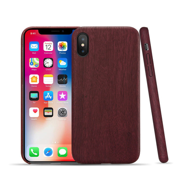 iPhone Wood Red Leather Case Covers