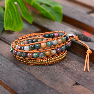 Triple Leather Natural Stones Wrap Bracelet