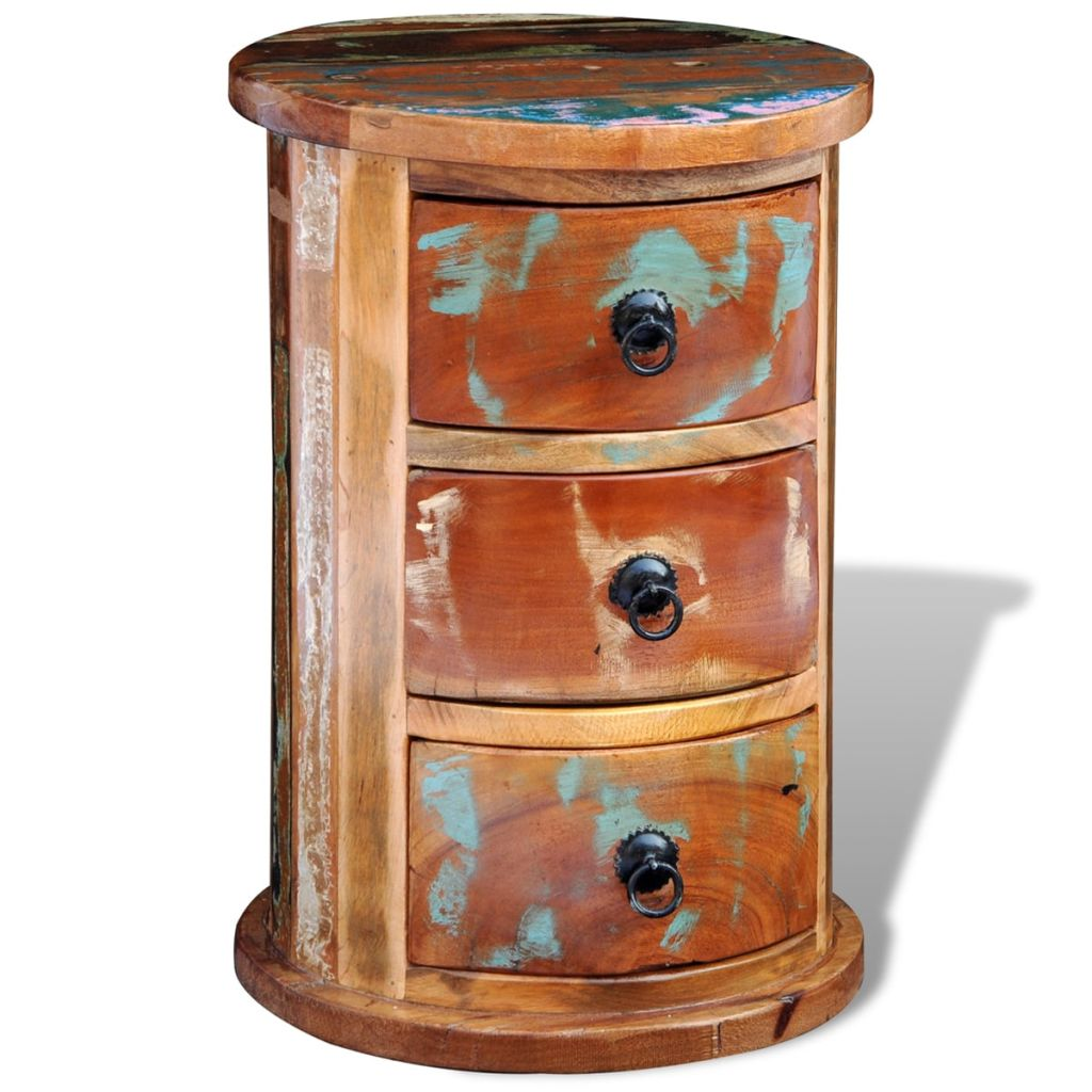 Antique Reclaimed Solid Wood Round Cabinet with 3 Drawers