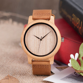 Unisex Bamboo Watch - Genuine Cowhide Leather