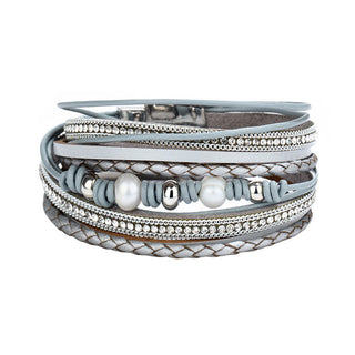 Powder Blue Multi Layer Pearl Leather Bracelets