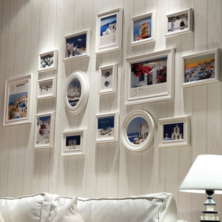 White 16 pcs Mediterranean Gallery Frame Set Photo Wall Collage