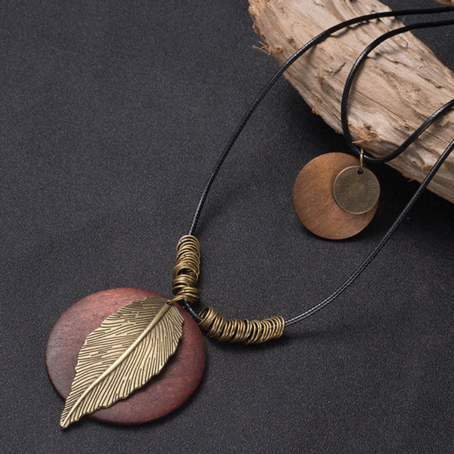 Long Multi-Layered Pendant Necklace Sweater Necklace Leaf Pendant