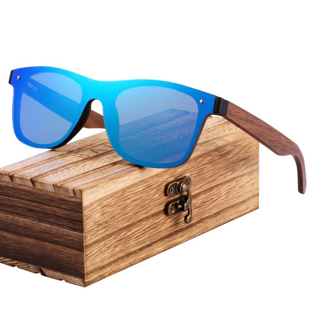 Walnut Bamboo Temple Wood Grain Sunglasses