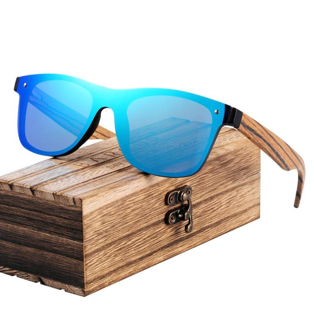 Zebra Bamboo Temple Wood Grain Sunglasses