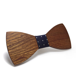 Blue and Silver Wood Grain Solid Wood Bow Tie