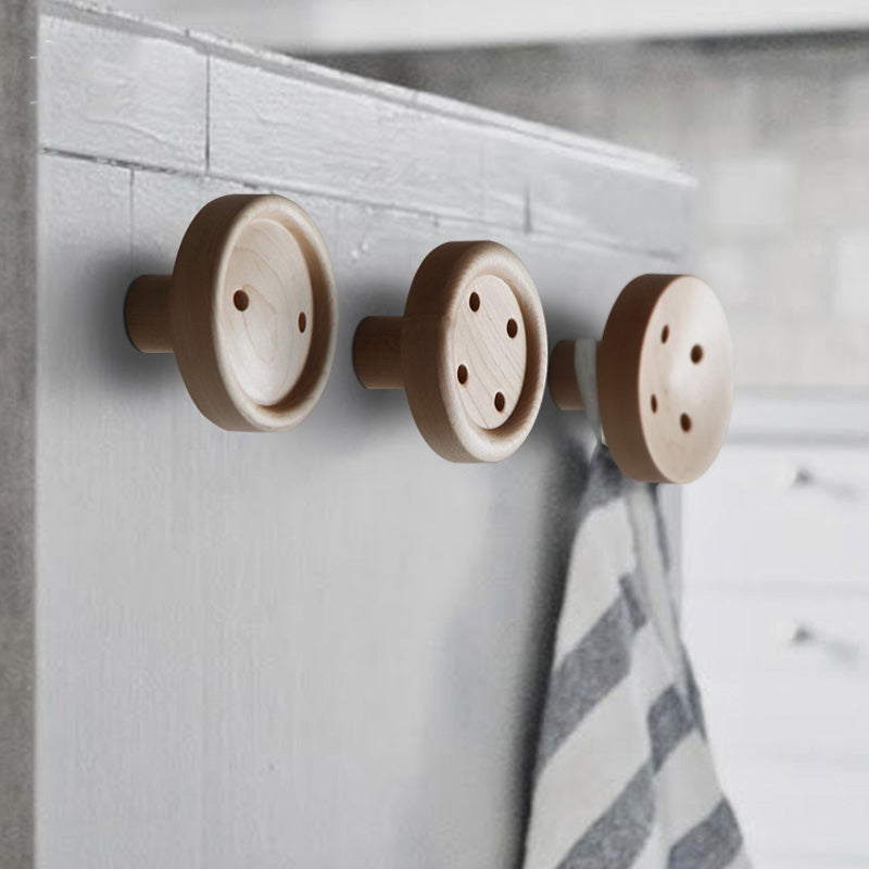 Solid Wood Hanger Button Wall Fastener Hooks - Strong Coat Hooks