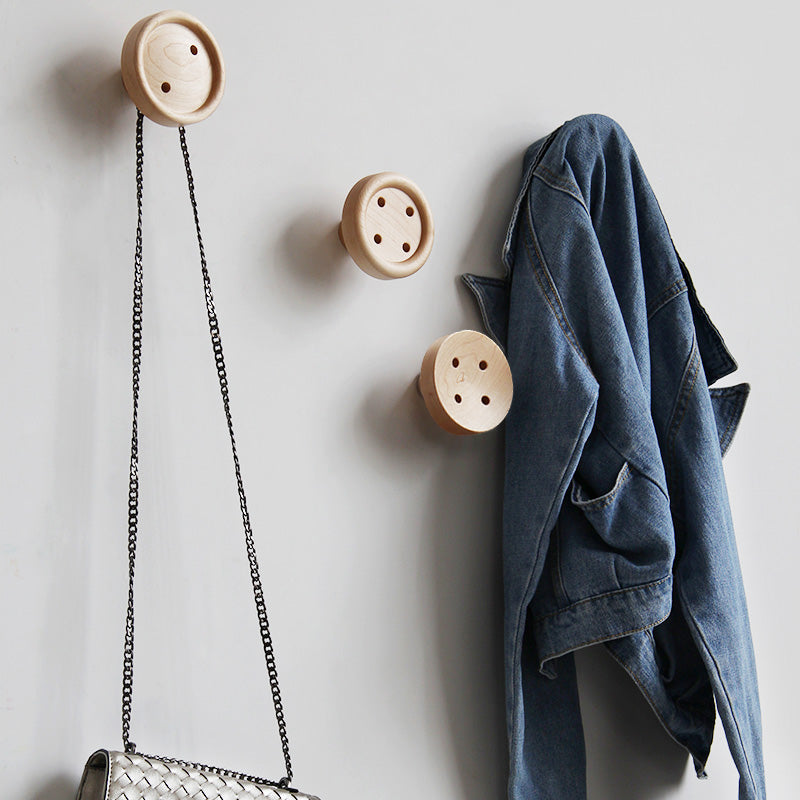 Solid Wood Hanger Button Wall Fastener Hooks - Strong Wooden Coat Rack