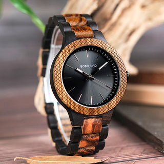 Wooden Gifts for Her - Two Tone Black Dial Wood Quartz Watch