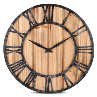 Solid Wood Metal Roman Numerals Wall Clock