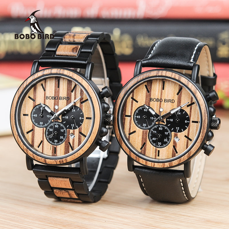 Men's Gift - Wooden Gifts for Men - Men's Business Luminous Wristwatch with Stainless Steel - Wood/Leather Band