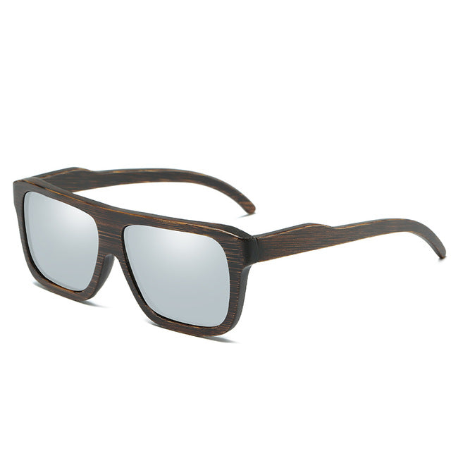 HD Polarized Men's Retro Squared Bamboo Sunglasses