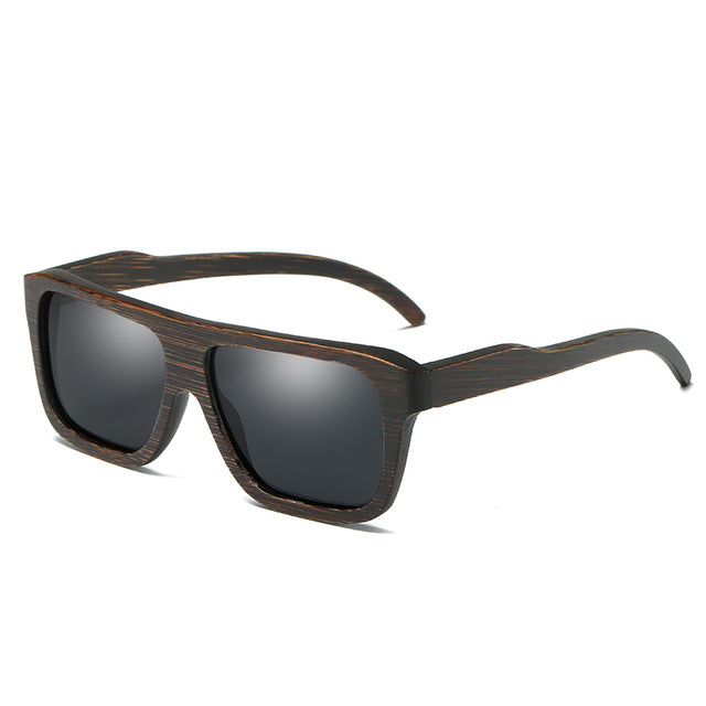 Men's Retro Squared Polarized Bamboo Sunglasses