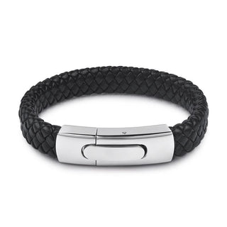 Men's Large Silver Buckle Black Leather Bracelet