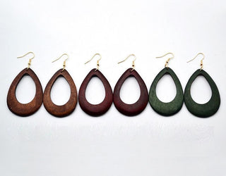 Wooden Water Drop Hollow Earring - 3 Colors