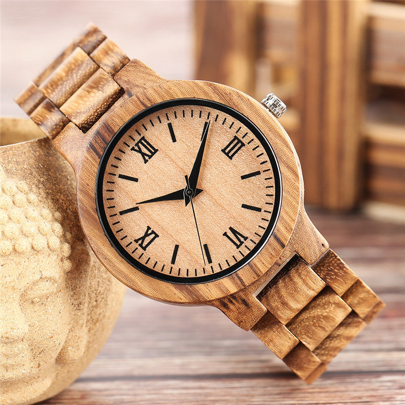 Simple Roman Numerals Natural Wood Watch for Men & Women - Bamboo Quartz